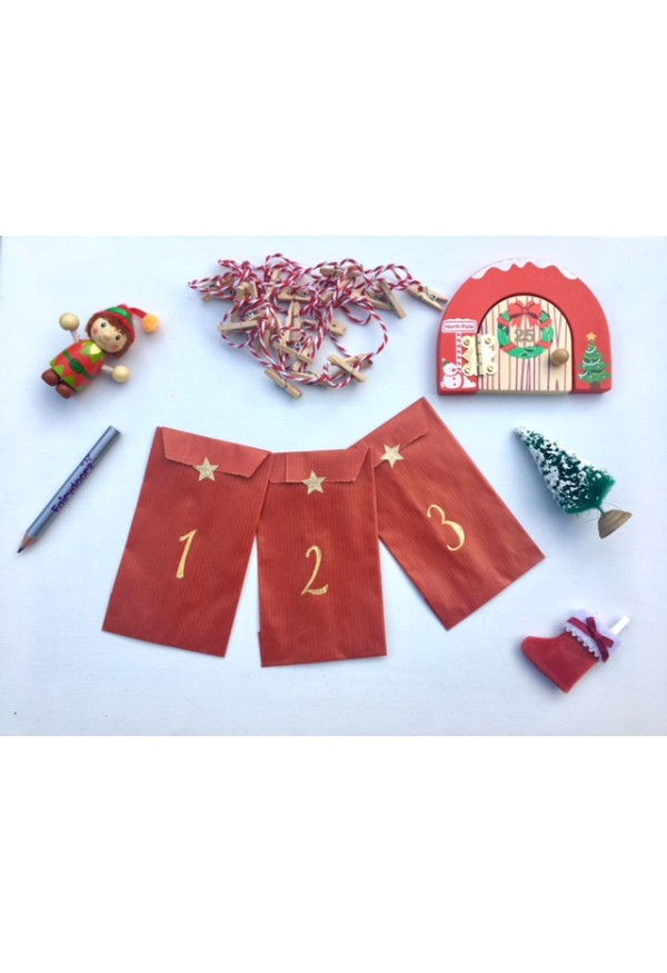 Advent calendar - eco friendly paper bag and peg advent calendar PLUS Santadoorz