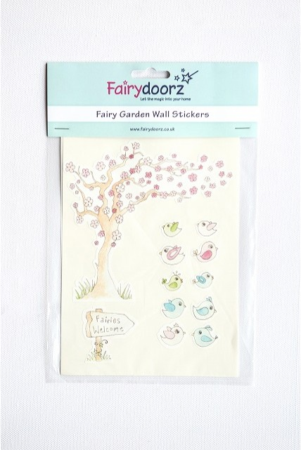 fairy wall stickers set wishing tree 72 quot tall large tree wall decals removable birds cage vinyl