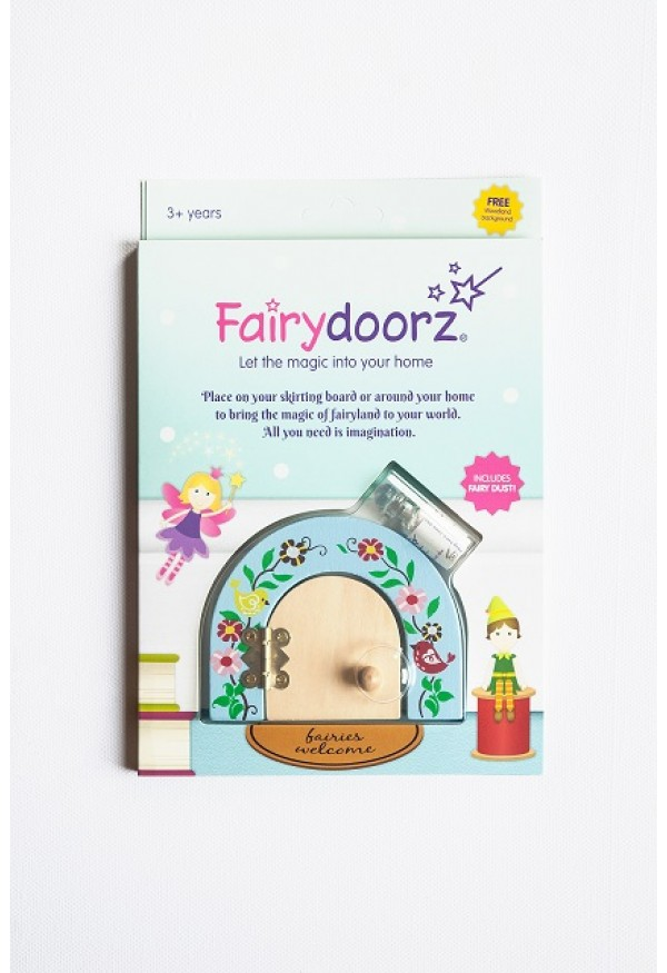 Secret Meadow fairy door & fairy dust gift set in Cornflower Blue