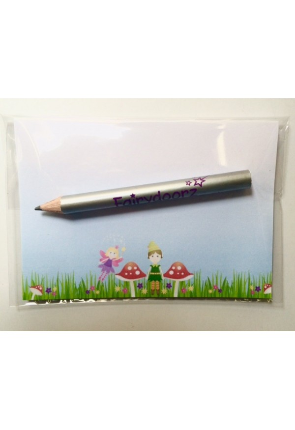 Fairydoorz mini memo notepad and silver pencil set