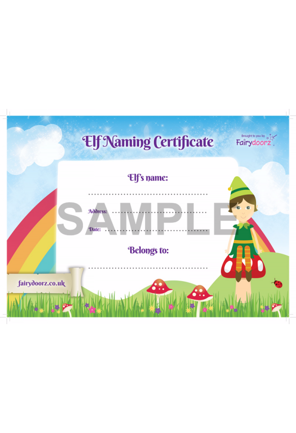 FREE Elf or Pixie naming certificate for your Fairydoorz home
