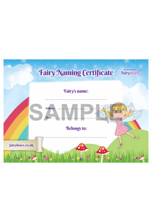 FREE fairy naming certificate for your Fairydoorz home