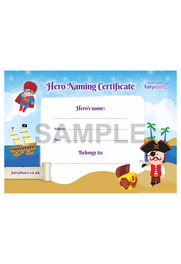 FREE Hero naming certificate for your Fairydoorz home
