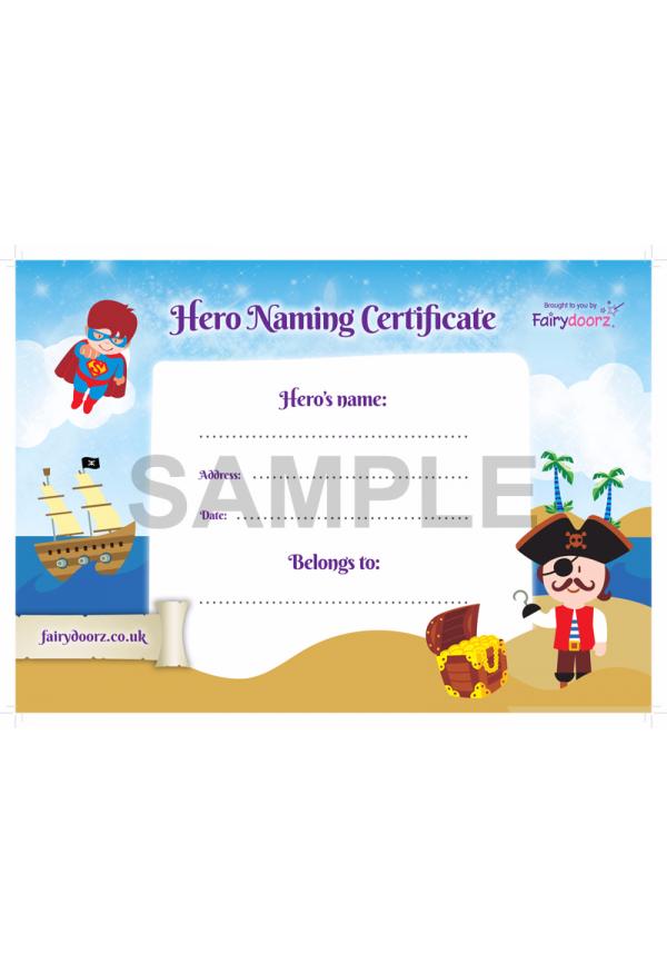 FREE Hero naming certificate for your Fairydoorz home