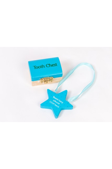 Tooth Fairy Set - Wooden Chest & Please STOP Here Star Shape Hanger in BLUE