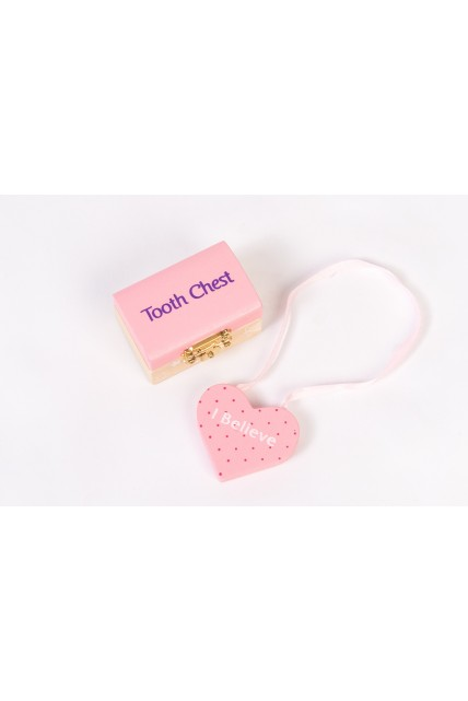 Tooth Fairy Set - Wooden Chest & Please STOP Here Heart Shape Hanger in PINK