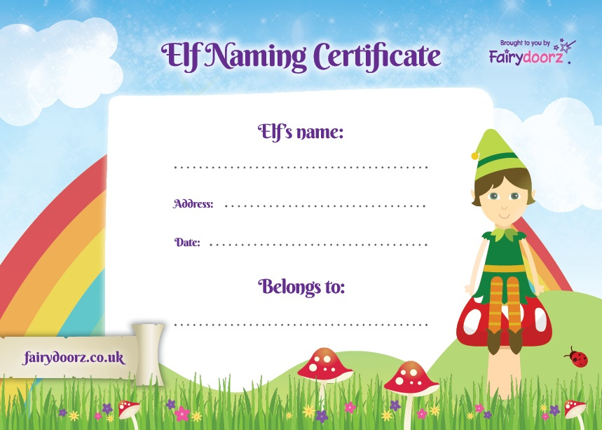 FREE elf and pixie naming certificate for your Fairydoorz home